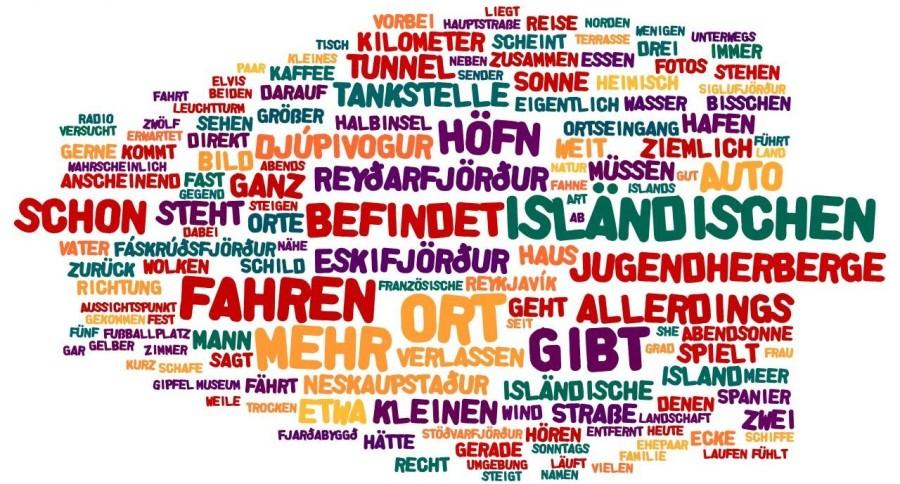 """Wordle-Wolke zu """"Sonntag, 25.08.2013: Orte, Fjorde und Natur des Ostens"""""""